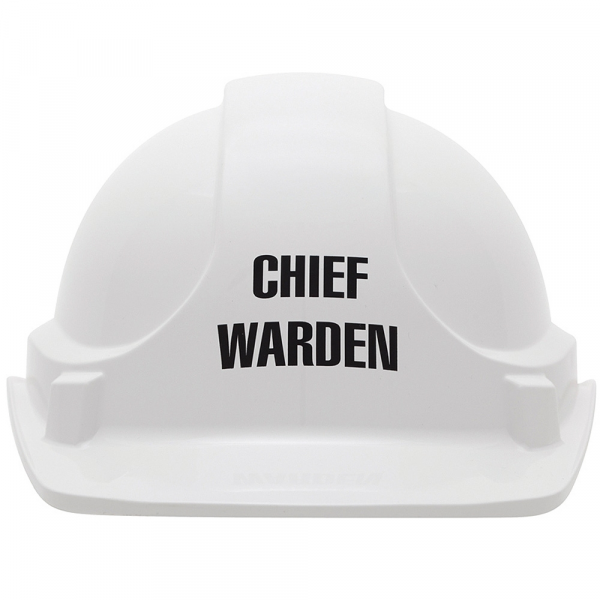 "3M Aust HAT: HARD SAFETY STAMPED ""CHIEF FIRE WARDEN"" WHITE  (TYPE 1)"