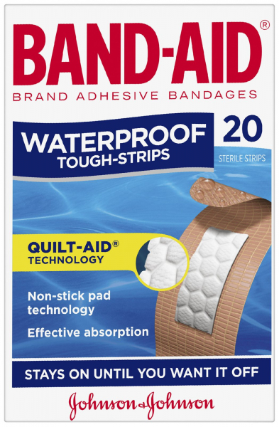 Johnson & Johnson JJ BAND-AID TOUGH STRIPS WATERPROOF REGULAR 20