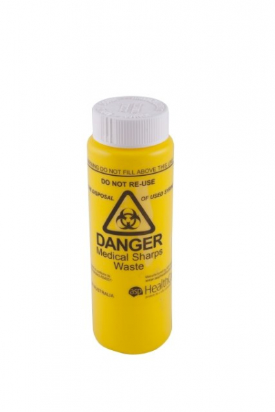 ASP Healthcare SHARPS CONTAINER FITSAFE SCREW CAP YELLOW 150mL