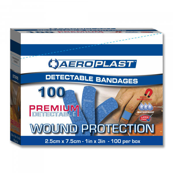 Aero Healthcare AEROPLAST BLUE DETECTABLE STRIPS 25mm 100