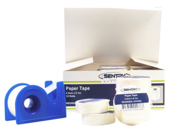 Sentry Medical HYPO ALLERGENIC TAPE with DISPENSER  2.5cm x 9.1m