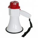 MEGAPHONE HAND HELD 20W WITH SIREN WHITE/RED (Batteries not included - requires 4xD) MP-HW-8