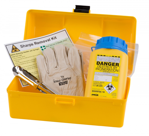 Uneedit F.A.KIT: SHARPS KIT REMOVAL STANDARD COMPLETE in PORTABLE PLASTIC YELLOW CASE