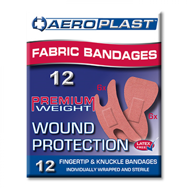 Aero Healthcare AEROPLAST FABRIC FINGER TIP & KNUCKLE PKT/12  RED