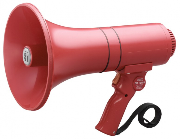 MEGAPHONE HAND HELD 15W WITH SIREN  TOA  (Batteries not included 6 x C Batteries) AD1215S