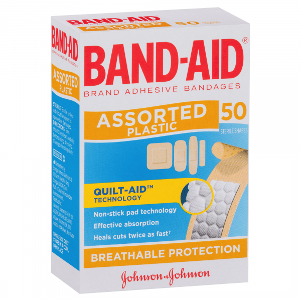 Johnson & Johnson JJ BAND-AID PLASTIC ASSORTED SHAPES 50