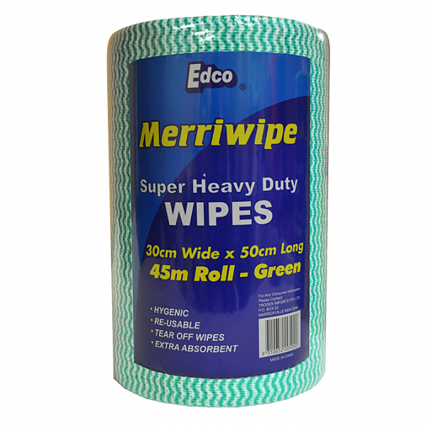 Edco MERRIWIPE SUPER HEAVY DUTY GREEN 300 x 45m 50cm Sheet  4rolls