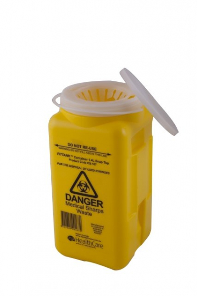 ASP Healthcare SHARPS CONTAINER FITTANK 1.4L  ** FLIP TOP - MODIFIED **
