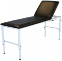 BED EXAMINATION COUCH TILT HEAD, STEEL FRAME WHITE/BLACK - ADJUSTABLE HEIGHT EXAMT