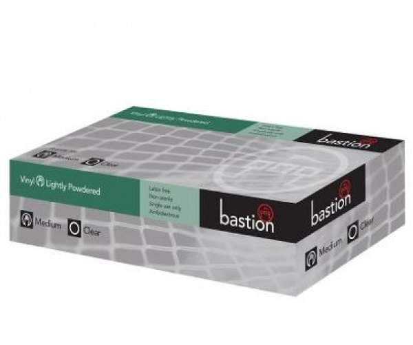 Bastion Pacific GLOVE VINYL CLEAR POWDERED BASTION 100's  MEDIUM  *Ctn/10