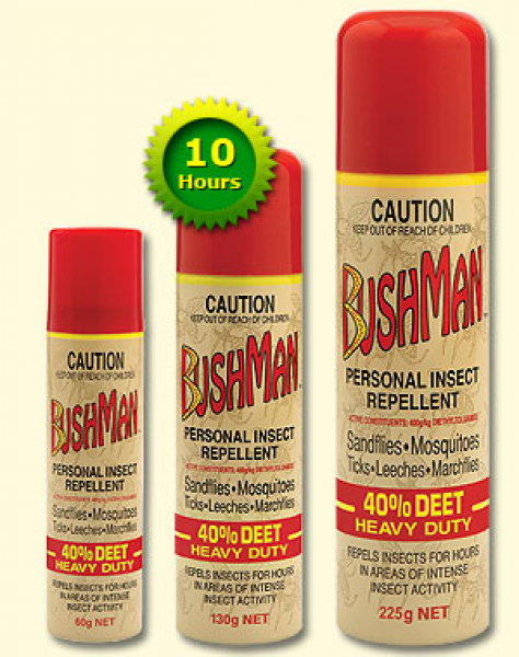 Juno Laboratories BUSHMAN 40% DEET HEAVY DUTY AEROSOL (Tan/Red)  60g