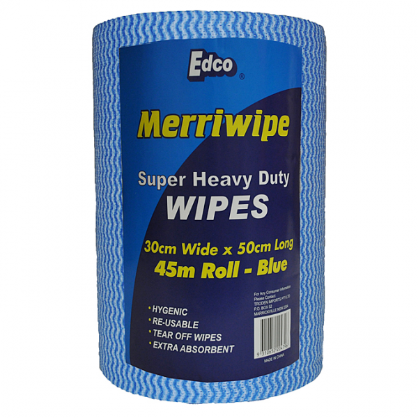 Edco MERRIWIPE SUPER HEAVY DUTY BLUE 300 x 45m 50cm Sheet  4rolls