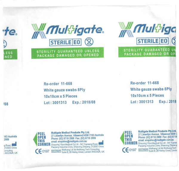 Multigate Medical GAUZE SWABS 10cm 5's STERILE