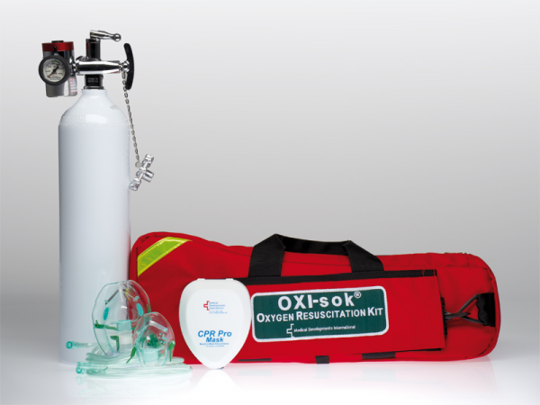 Medical Developments OXYGEN UNIT: MD OXI-SOK THERAPY OXYGEN with CPR POCKET THERAPY MASK KIT (Oxygen bottle not supplied)