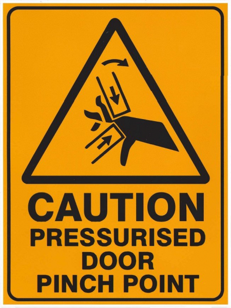 Pratt Safety SIGN: VINYL CUSTOM PRESSURISED DOOR PINCH POINT 225 x 300