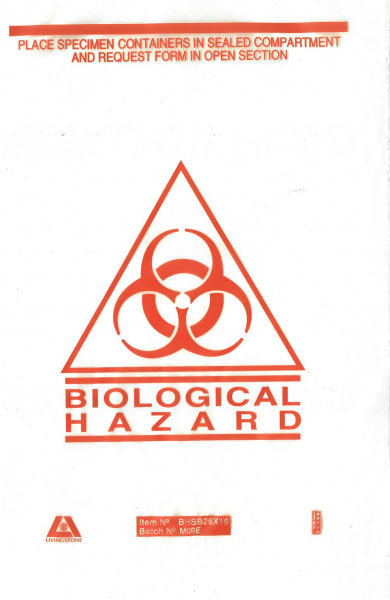 Miscellaneous BAG: BIOHAZARD CLEAR with HAZARD SYMBOL  23cm x 16cm  **Single**