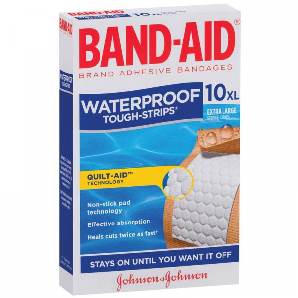 Johnson & Johnson JJ BAND-AID TOUGH STRIP WATERPROOF X-LARGE  10