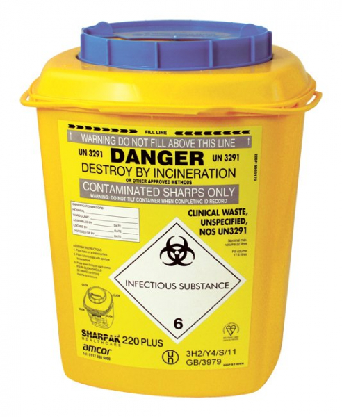 SHARPS CONTAINER SHARPAK 220 (BLUE TOP) 22L PR2244
