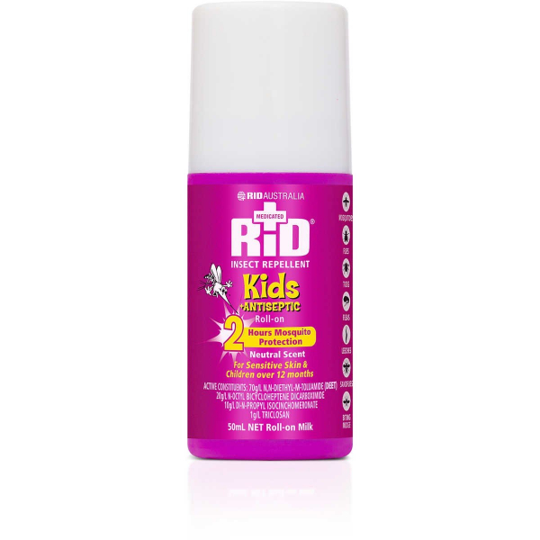 Rid Aust RID KIDS ROLL ON MILK PLUS ANTISEPTIC 50mL