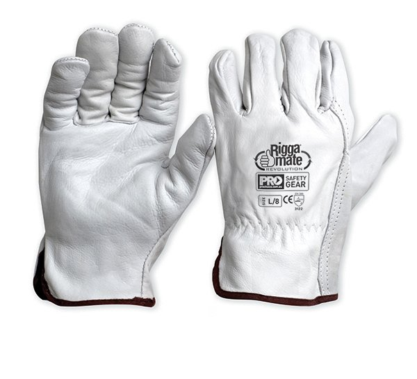 Pro Safety Gear IND GLOVE: RIGGERS LEATHER COW GRAIN NATURAL SMALL
