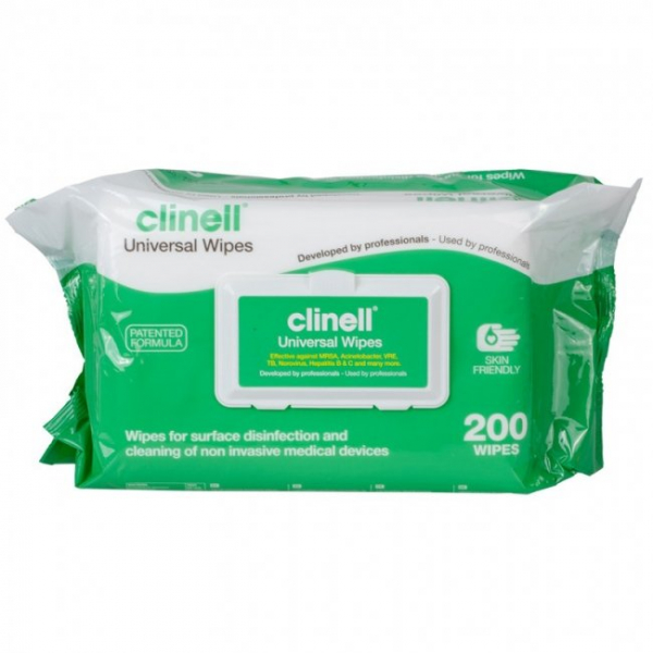 GAMA Healthcare CLINELL UNIVERSAL SANITISING WIPES Soft Pack 200  * Single*