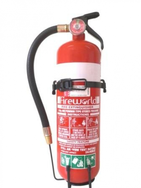 Fire World FIRE EXT. DRY CHEMICAL ABE 2kg with HOSE  +WALL/VEHICLE BRACKET