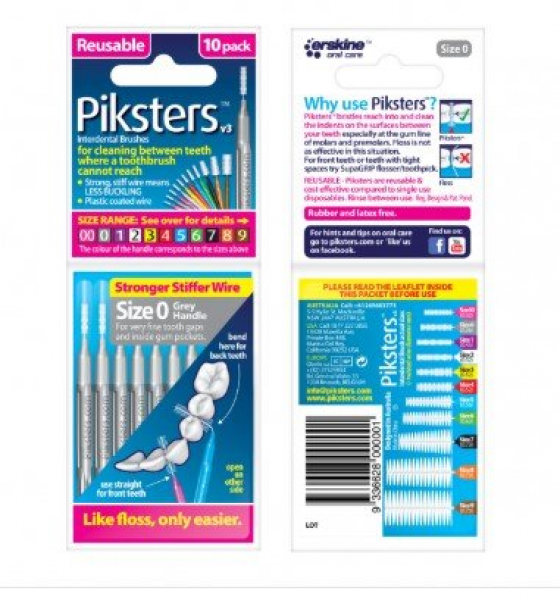Miscellaneous PIKSTERS INTERDENTAL BRUSHES SIZE 0 GREY  10