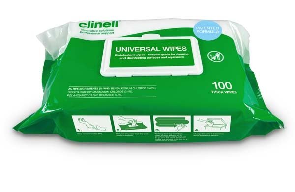 CLINELL UNIVERSAL SANITISING THICK WIPES SOFT PACK 100 CLDCW100AUS
