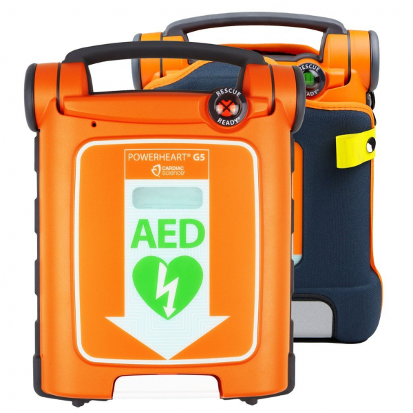 Cardiac Science POWERHEART DEFIBRILLATOR G5 FULLY AUTOMATIC with ADULT PADS + CPR DEVICE with WALL HANGER & SIGNAGE