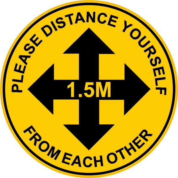 "SIGN: FLOOR NON SLIP 300mm CIRCLE ""PLEASE DISTANCE YOURSELF FROM EACH OTHER 1.5m"" FGPLD"