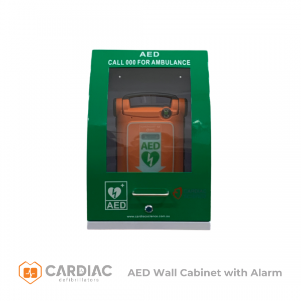 Cardiac Science POWERHEART WALL CABINET METAL ALARM & KEY (LOCKABLE) GREEN