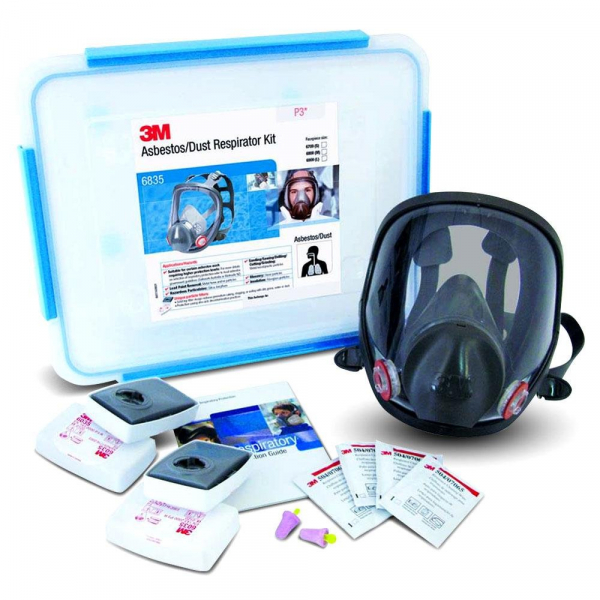 3M Aust RESPIRATOR: 3M FULL FACE MASK STARTER KIT ASBESTOS/DUST 6835M P3 MEDIUM