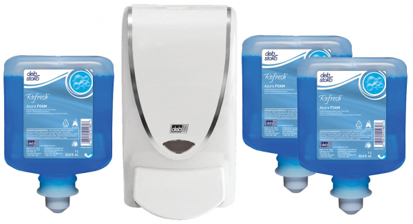 SC Johnson Deb DEB 1000 REFRESH AZURE STARTER PACK  3 x AZURE FOAM WASH CARTRIDGE 1L, 1 x DISPENSER