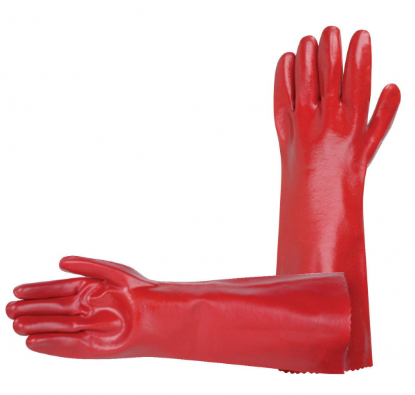 "Miscellaneous IND GLOVE: PVC RED SINGLE DIP 45cm (18"")"