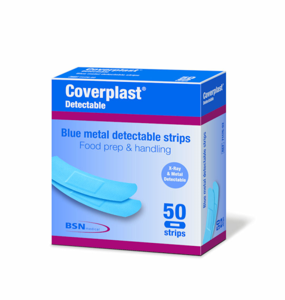 BSN medical COVERPLAST FAD BLUE X-WIDE VISUAL METAL DETECTABLE  STRIPS 50's  BLUE