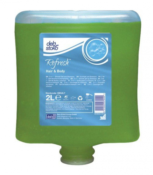 SC Johnson Deb DEB 2000 STOKO REFRESH HAIR & BODY WASH GEL Cartridge 2L  *Ctn/4