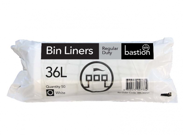 Bastion Pacific BAG: BASTION BIN LINER 36L REGULAR DUTY WHITE  Roll 50