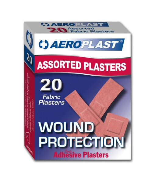 Aero Healthcare AEROPLAST FABRIC ASSORTED STRIPS 20  RED